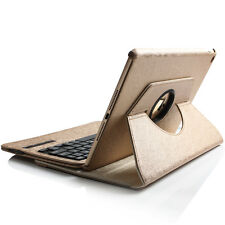 360° Ipad Air 2 leder Case Schutz Hülle Cover mit Bluetooth Tastatur Gold