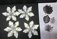 TATTERED LACE HANDMADE CHRISTMAS WHITE/BLACK EXTRA LARGE  POINSETTIA DIE CUTS
