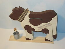 Whimsical Wooden Cow with Pail Decorating Display