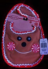 NWT Rising Star Baby Bib, 100% Cotton, Applique of Gingerbread Man's Face