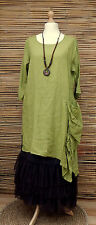 LAGENLOOK ASYMMETRICAL 100% LINEN LONG TUNIC/DRESS+NECKLACE *LIME*BUST UP TO 46""