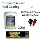 Cromapol Acrylic Waterproofing Roof Coating 20kg + Free Brush And Gloves