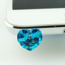 Austrian Crystal Heart 3.5 mm Dust Earphone Plug For Mobile Phone iPhone IP6