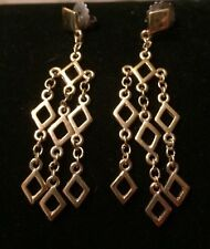 Lia Sophia Large Earrings Dangle Gold Tone Diamond Shapes Pierced
