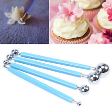 DIY Fondant Cake Flower Decorating Metal Ball Modelling Sugarcraft Tools 4 Pcs