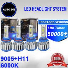 2PAIR High Beam & Low Beam H11 + 9005 Super White 6000K LED Headlight COMBO NEW