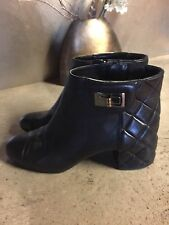 Chanel Quilted Black Lambskin Leather Reissue Turnlock Ankle Boots 39 Rare