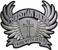 Large Christian Biker I Ride With Jesus Cross Wings NEW Back Vest Patch LRG-0002