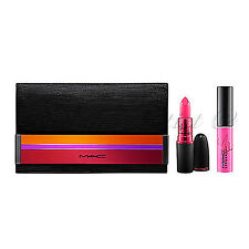 Auth MAC Enchanted Eve / Viva GlamMILEY CYRUS Lipstick Lipglass Hot Pink Set NIB