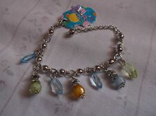 BRAND  NEW  FASHONABLE SILVER PLATED WITH COLOURED  DROPLET BEADS BRACELET.