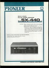 Rare Factory Pioneer SX-440 AM/FM Stereo Receiver Owner's Service Manual