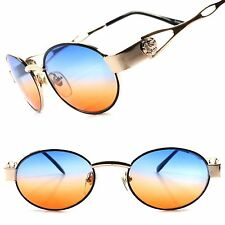 True Vintage Deadstock Blue & Orange Two Tone Lens Gold Womens Oval Sunglasses