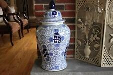 "DECORATIVE FLORAL EXTRA LARGE TEMPLE JAR ORIENTAL VASE - 25"" - BLUE & WHITE"