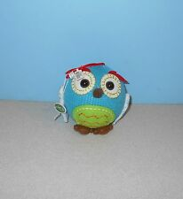 "New Mini 4 1/2"" Knitt & Felt Blue Owl Ball Christmas Ornament by North Pole"
