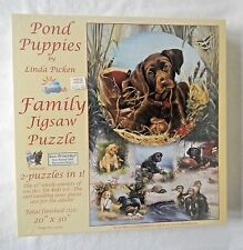 NIB Pond Puppies Dog Family Jigsaw Puzzle 2 in 1 Cute Retreiver 1000 Pieces 2008