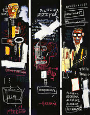 STAMPA SU TELA CANVAS JEAN MICHEL BASQUIAT HORN PLAYERS 90X70 POP ART