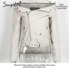 Women Off Shoulder Faux PU Leather Jacket Autumn Zipper Up Biker Motocycle Coat