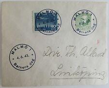 1943 Brief Schweden MALMÖ Barnens DAG Sonderstempel Sverige Briefmarken Stempel