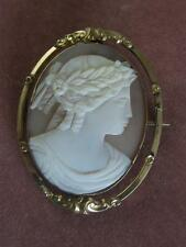 ANTIQUE VICTORIAN PINCHBECK SWIVEL CARVED SHELL CAMEO PIN W/ MEMORIAL BACK