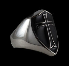 Stainless Steel Crusader Cross Knights Templar w/Black E. Ring-Any Size-Inc Ship