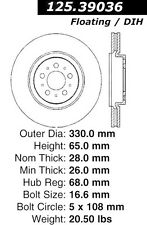 Centric Parts 125.39036 Rear Premium Brake Rotor