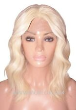 Remy Human Hair Wig Front Lace 16 Long Body Wave Wavy Light Golden Blonde 613 UK