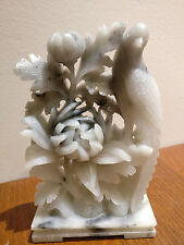 """Chinese Hand Carved Soap Stone flower and bird 5.5"""""""