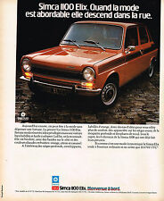 PUBLICITE ADVERTISING 104  1975  SIMCA 1100 ELIX