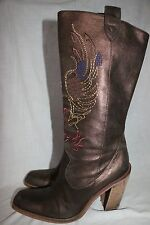Women's Gianna Bini -Size 8-1/2- Embroidered Cowgirl Boots With Heel - Bronze