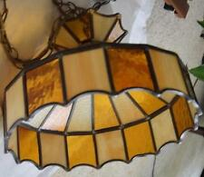 "VTG 16"" Hanging STAINED GLASS Ceiling LAMP SHADE PLUGS IN GOLD WHITE Stripe Pool"