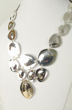 NWT Robert Lee Morris Soho Silver-Tone Sculptured Disc Statement Necklace $98