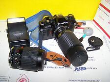 VINTAGE OLYMPUS  OMPC BUNDLE  75- 200 MM &  35-75 MM LENS - FLASH STRAP & -BAG