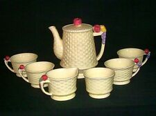 Vtg Tea Set Unique Yellow Basketweave Grapes Apples 7 Piece Shabby Chic Retro