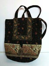Vera Bradley Retired Black Walnut Brown Backpack Bag Tote Paisley Floral 12X9