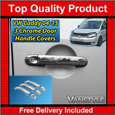 VW CADDY 04-15 STAINLESS STEEL CHROME 3 DOOR HANDLE COVER SET MAXI VAN POLISHED
