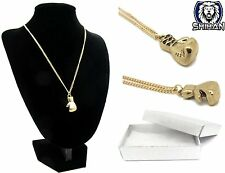 Mini Boxing 3D Glove Rocki Necklace Charm Pendant with Gift Box GOLD For Men
