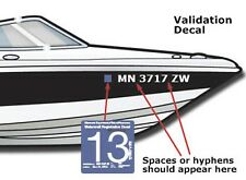 "Boat Registration Number Lettering Decals Vinyl PWC Lettering 3"" x 20"" (2 Sets)"
