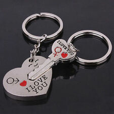 """I Love You"" Keyring Heart Key Lover Couple Silver Key chain Her His Gift Jewelr"