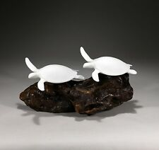"""Sea Turtle Duo Sculpture New Direct from John Perry """"Pellucida"""" 10in Long Decor"""