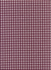 Cotton Elastane Gingham Check Burgandy Printed Dress Craft Fabric Material