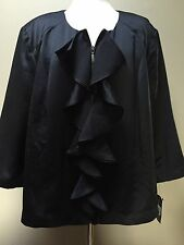 INC Womens Black Sateen 3/4 Sleeves Jewel Neck Jacket Blazer Plus 3X Ruffled
