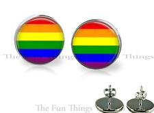 Gay Pride Flag Colors Stud Earrings 14 mm Setting Artisan Handcrafted Jewelry