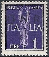 1944 RSI GNR BRESCIA I TIRATURA POSTA AEREA 1 LIRA MH * VARIETà - RSI137-1