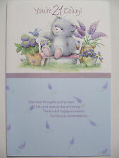 BEAUTIFUL GLITTER COATED CUTE KITTEN & FLOWERS 21ST BIRTHDAY GREETING CARD