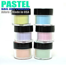 "6 ADORO DECORI NAIL ART ACRYLIC POWDER SHEER PASTEL LIGHT COLOR "" MADE IN USA """