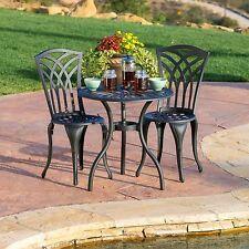 Outdoor Patio Furniture 3pcs Black Sand Cast Aluminum Bistro Set