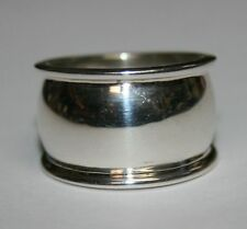 Sterling Silver .925 Wide Band s Size 7 Mens Band Ring D Shape With Ridges