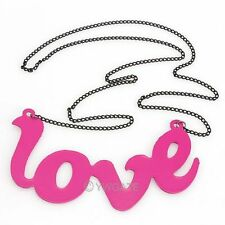 Fashion Rose Crystal Love Letter Word Pendant Long Chain Sweater Necklace