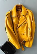 NEW ZARA WOMENS HOT YELLOW  FAUX LEATHER ZIPPER MOTO STYLE JACKET. L