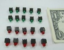 USA 10 Red + 10 Green Mounted LEDs, Circuit Board Lights Lamps Solder Terminals